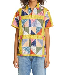 women's bode one of a kind flying geese patchwork bowling shirt, size small/medium - red