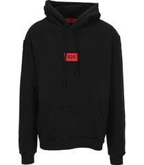424 logo patch cotton hoodie