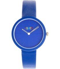 crayo unisex blade blue leatherette strap watch 37mm