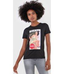 camiseta only coca cola preta - preto - feminino - algodã£o - dafiti