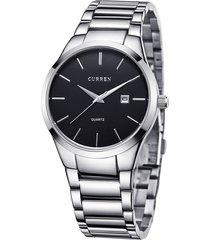 reloj analogo lujo hombre acero curren - color plata negro