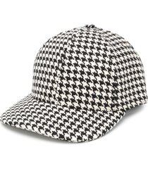 ami paris houndstooth print cap - black