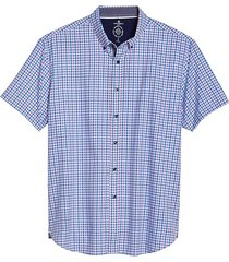 con. struct men's slim fit short sleeve shirt blue & pink check - size: small