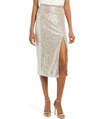 women's bardot arabella sequin midi skirt, size x-small - metallic