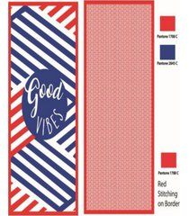 premium high performance large beach pool towel good vibes, red by minxny bedding