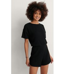 na-kd lingerie ribbed playsuit pyjamas - black