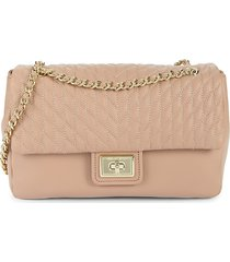 karl lagerfeld paris women's agyness quilted leather shoulder bag - winter white