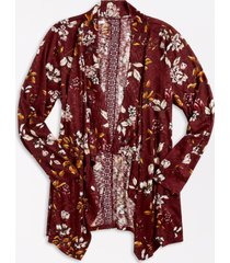 maurices plus size womens red floral crochet back open front cardigan