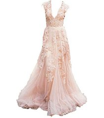 fanmu deep v lace tulle wedding dresses prom gown champagne us 24plus