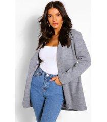 wool look single button jacket, silver