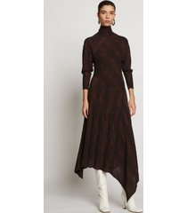 proenza schouler woodgrain jacquard knit dress dark brown/black m