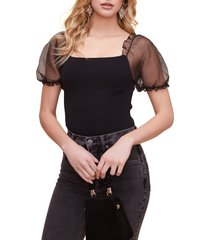 women's astr the label puff sleeve bodysuit, size large - black