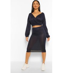 soft rib wrap over button top and midi skirt, navy