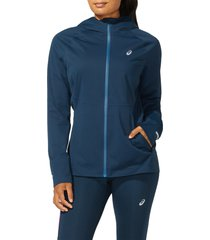 women's asics accelerate water resistant hooded jacket, size large - blue