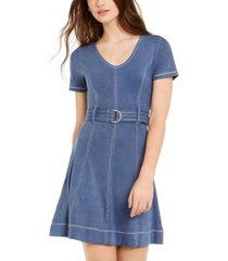 derek heart juniors' belted faux-suede a-line dress