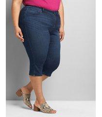 lane bryant women's curvy fit high-rise pedal jean - dark wash 12 dark denim