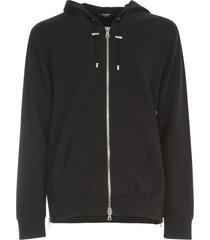 balmain resin zipped hoodie