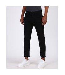 calça de sarja masculina dad com bolsos preta
