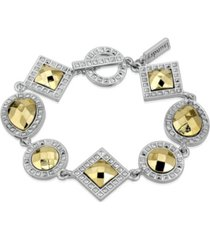 2028 silver-tone and gold-tone stone multi stone toggle bracelet