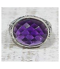 amethyst cocktail ring, 'lilac glimmer' (india)