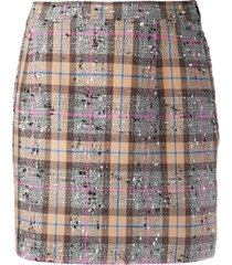 alessandra rich fitted tweed check skirt - brown