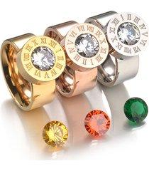 unico anello in acciaio inossidabile 4 pietre preziose colorate anello unisex anello di fidanzamento con numeri romani in oro rosa