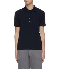 four-bar stripe rib cuff pique polo shirt