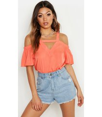cold shoulder cut out detail woven top, coral