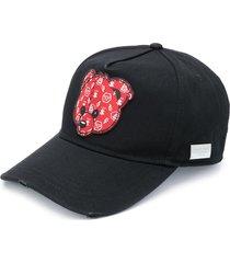 philipp plein teddy bear patch baseball cap - black