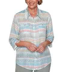 alfred dunner chesapeake bay printed button-down woven top
