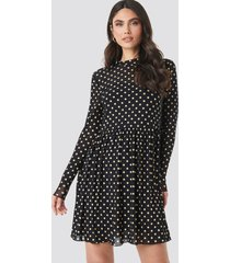 na-kd mesh dot dress - black