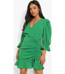 petite geplooide wikkel jurk, green