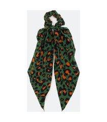 scrunchie com laço alongado em animal print   accessories   verde   u
