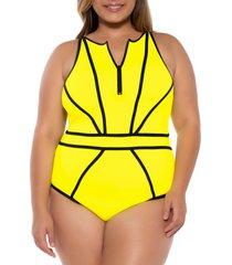 plus size women's becca etc. scuba one-piece swimsuit, size 0x - green