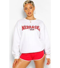 extreem oversized nebraska sweater met tekst, wit