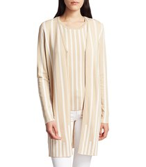 saks fifth avenue women's collection plaited stripe open-front cardigan - oatmeal white combo - size l