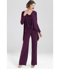 natori matte jersey cardigan coat, women's, purple, size s natori