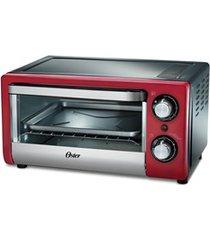 forno elétrico de mesa compact 1000w 220v 10 litros preto e vermelho