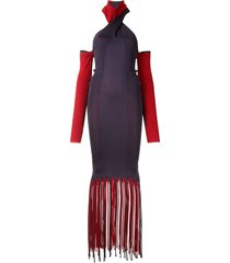 bottega veneta fringed two-tone dress - purple