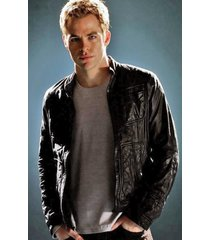 custom handmade new star trek chris pine leather jacket, celebretries fashion ja