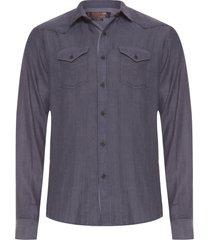 camisa masculina dualite amaciada - cinza