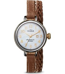 shinola the birdy double wrap braided leather strap watch, 34mm in brown/white/silver at nordstrom