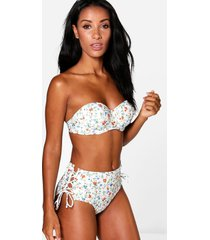 ditsy floral lace up underwired bikini, white