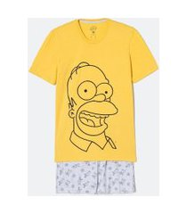 pijama manga curta estampa homer com bermuda | simpsons | multicores | m