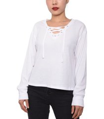 planet gold lace-up waffle-knit top