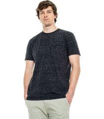 camiseta cuello redondo efecto flame con bolsillo color blue