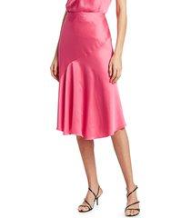helmut lang women's asymmetric satin skirt - neon pnk - size 0