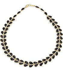 polished rock candy 18k yellow gold & onyx laurel necklace