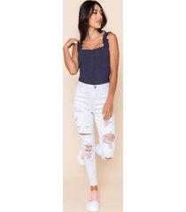gwendalynn high rise distressed jeans - white