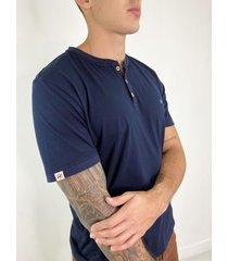 t-shirt cuello henley azul - dts3006